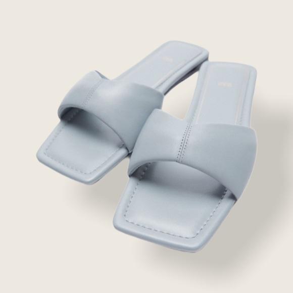 Zara Flat Padded Leather Square Toe Sandals Blue